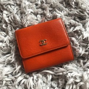 Red Orange Vintage Chanel Trifold Wallet